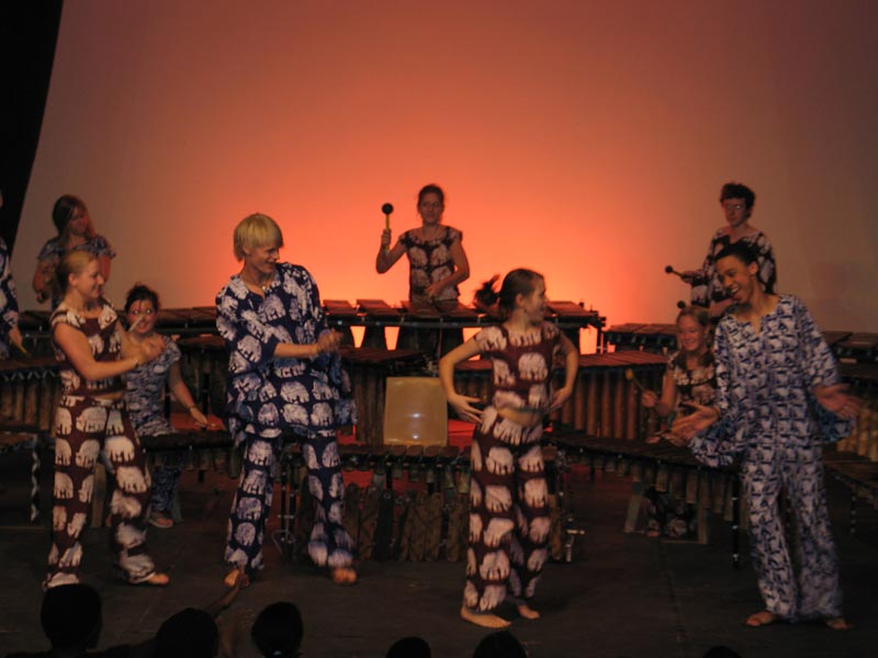 Performing at Maru-A-Pula Secondary School in Botswana, 2005