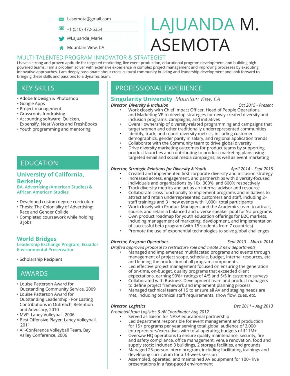 Lajuanda M. Asemota Resume - June 2016