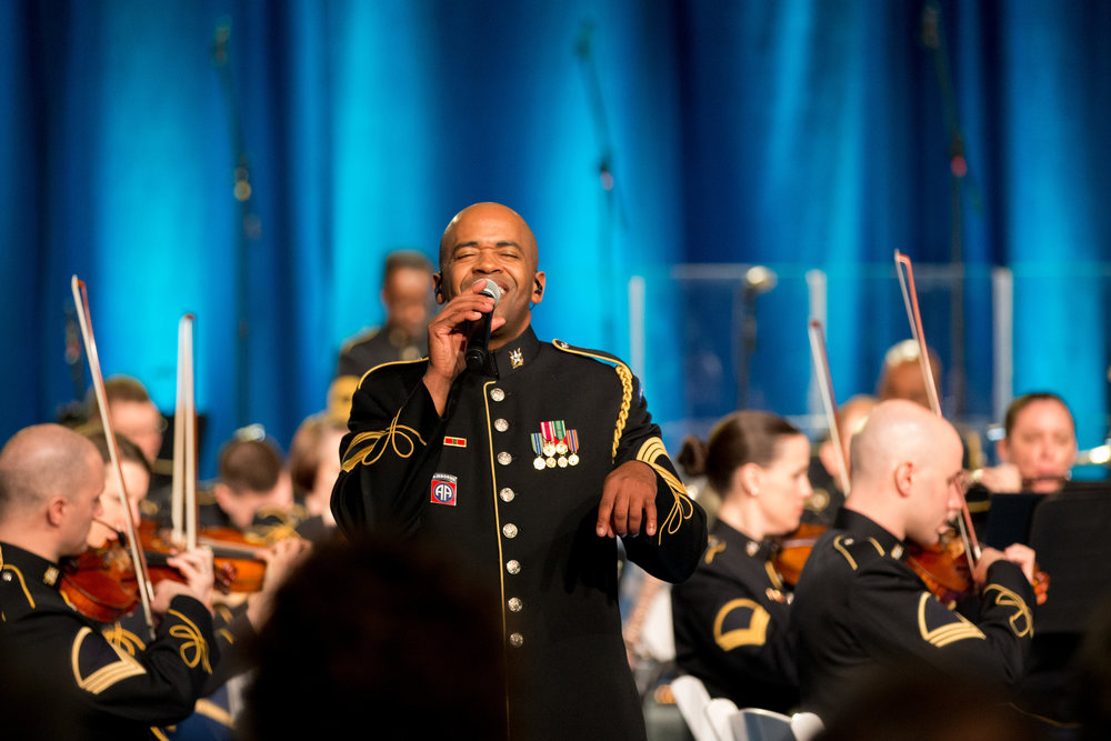 Master Sgt. Collin Eaton sings Ray Charles' popular version of America the Beautiful for veterans of the Vietnam War.