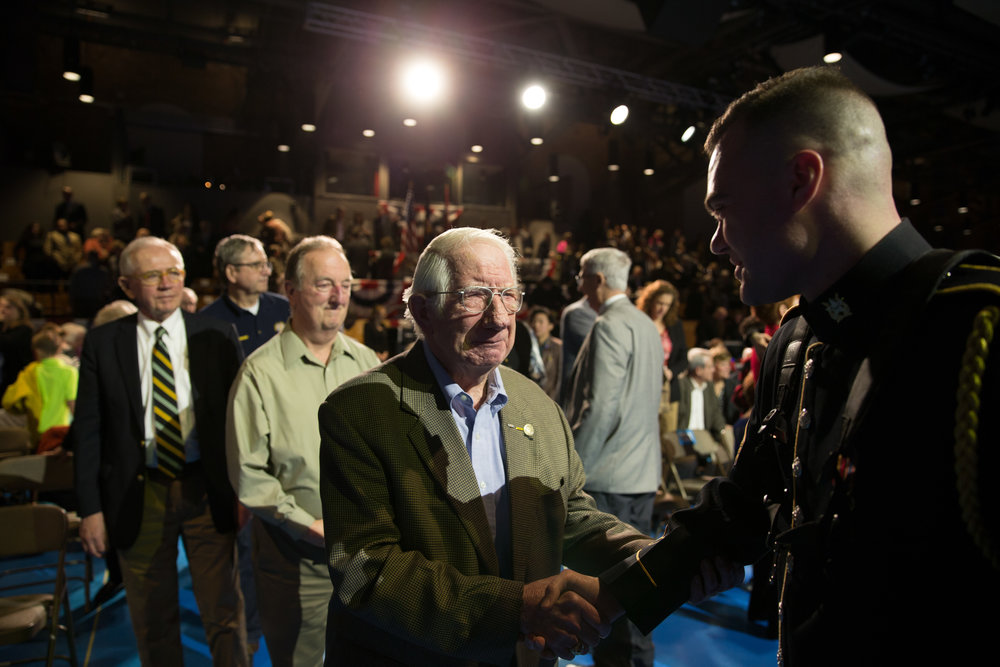 Staff Sgt. Matt Evans meets Vietnam War veterans following a performance at Fort Myer.
