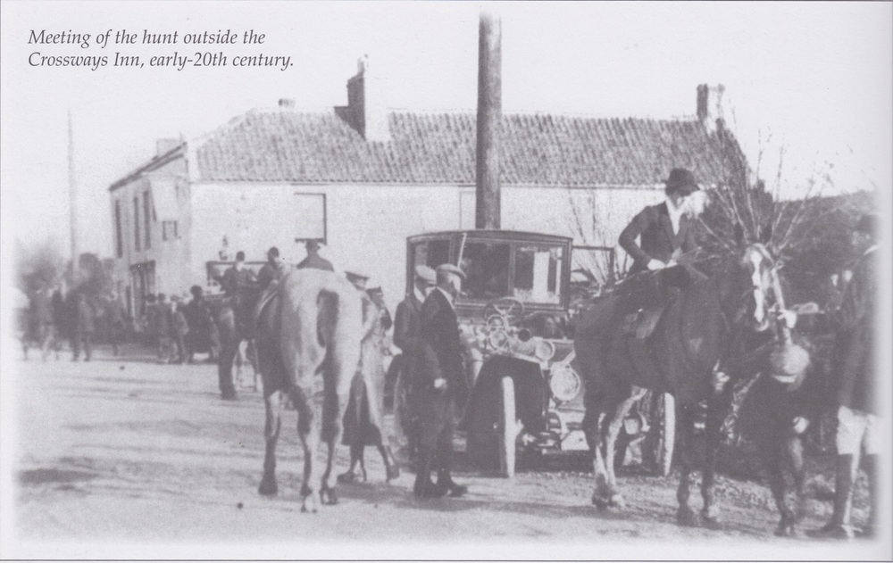 Meeting of the hunt outside the Crossways Inn, Early 20th Century