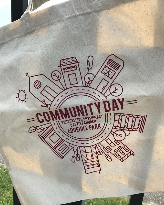 #Totes for Progressive Missionary Baptist Church's - Community Day in Edgehill Park. Get registered to vote, and some FREE FOOD! Artwork by: @breanneluster