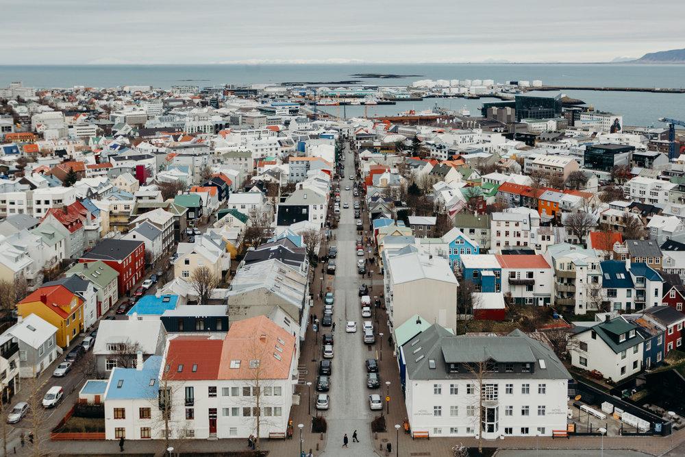 Classic view of colourful Reykjavík buildings from Hallgrímskirkja church