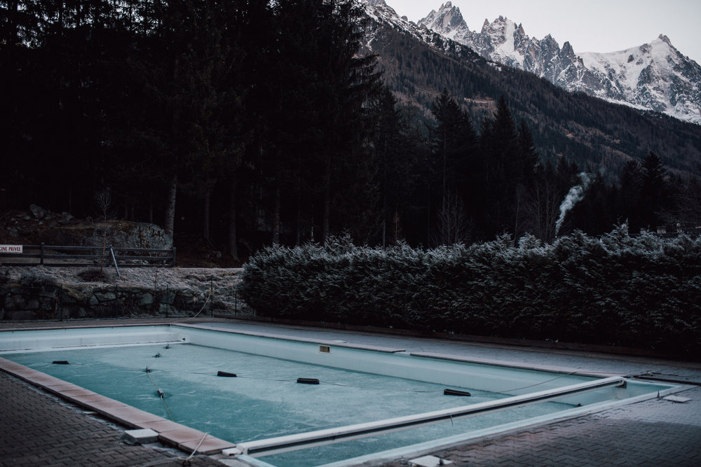 Frozen swimming in Chamonix village during early morning winter