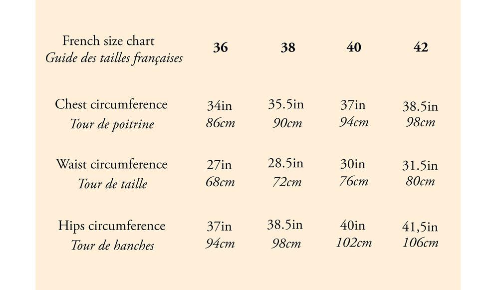petitjeanparis size chart