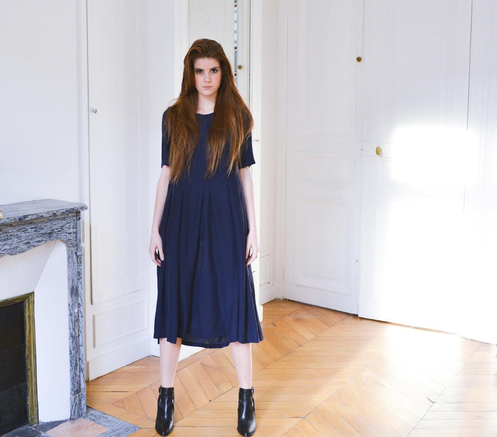 silk dress Reine Petitjean Paris navy blue
