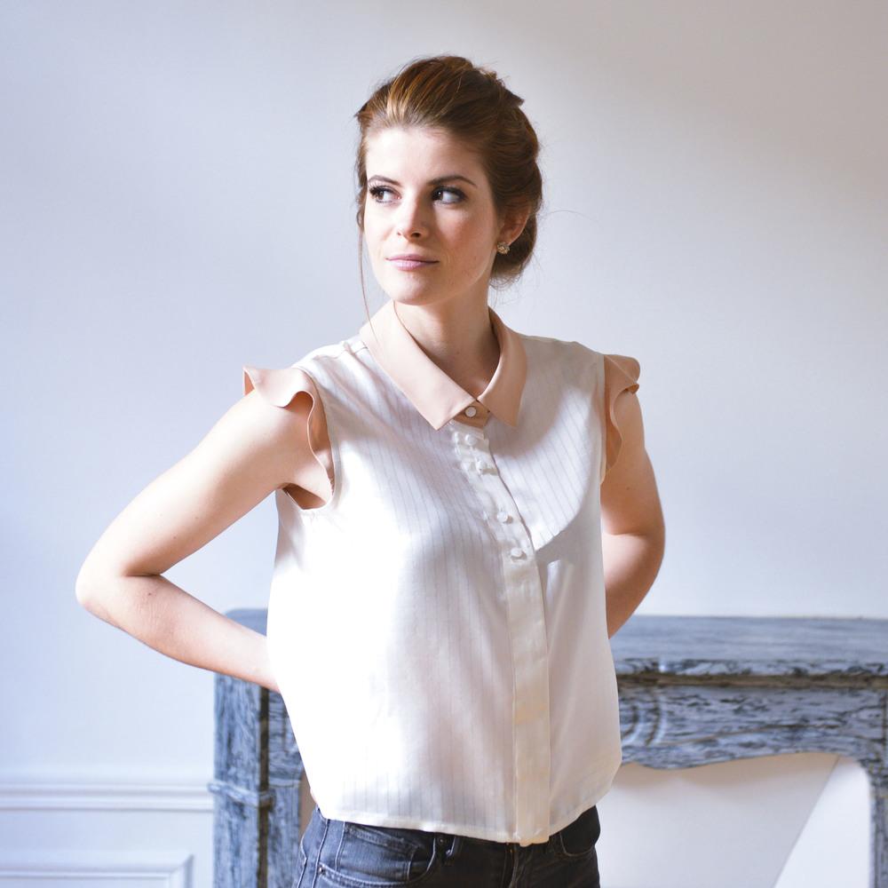 francine silk shirt petitjean paris ivory white sleeves