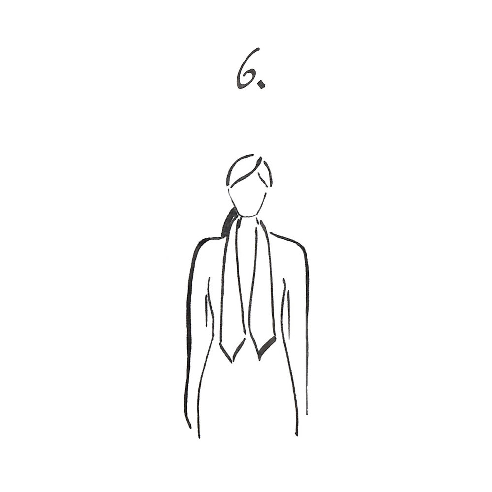 Place around your neck and make a simple tie knot.