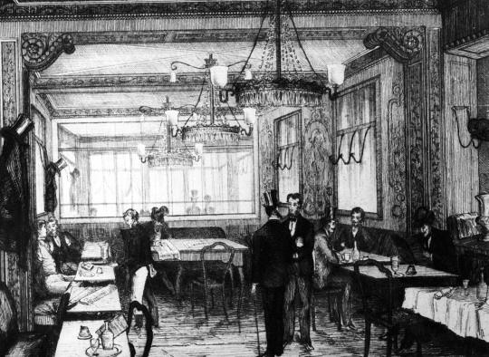 Engraving of le Café Procope