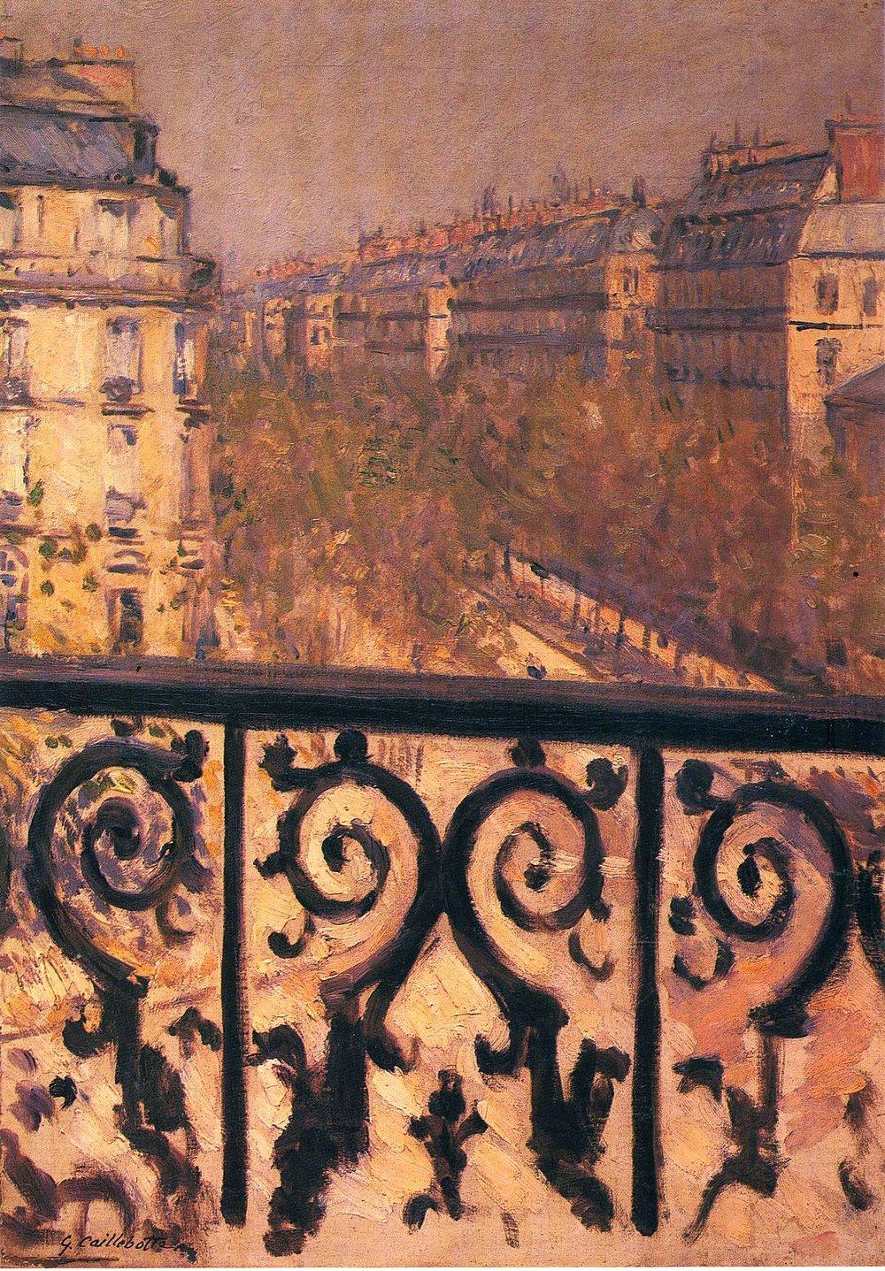 Gustave Caillebotte - Un Balcon à Paris - Huile sur toile, 1881, Collection Privé.