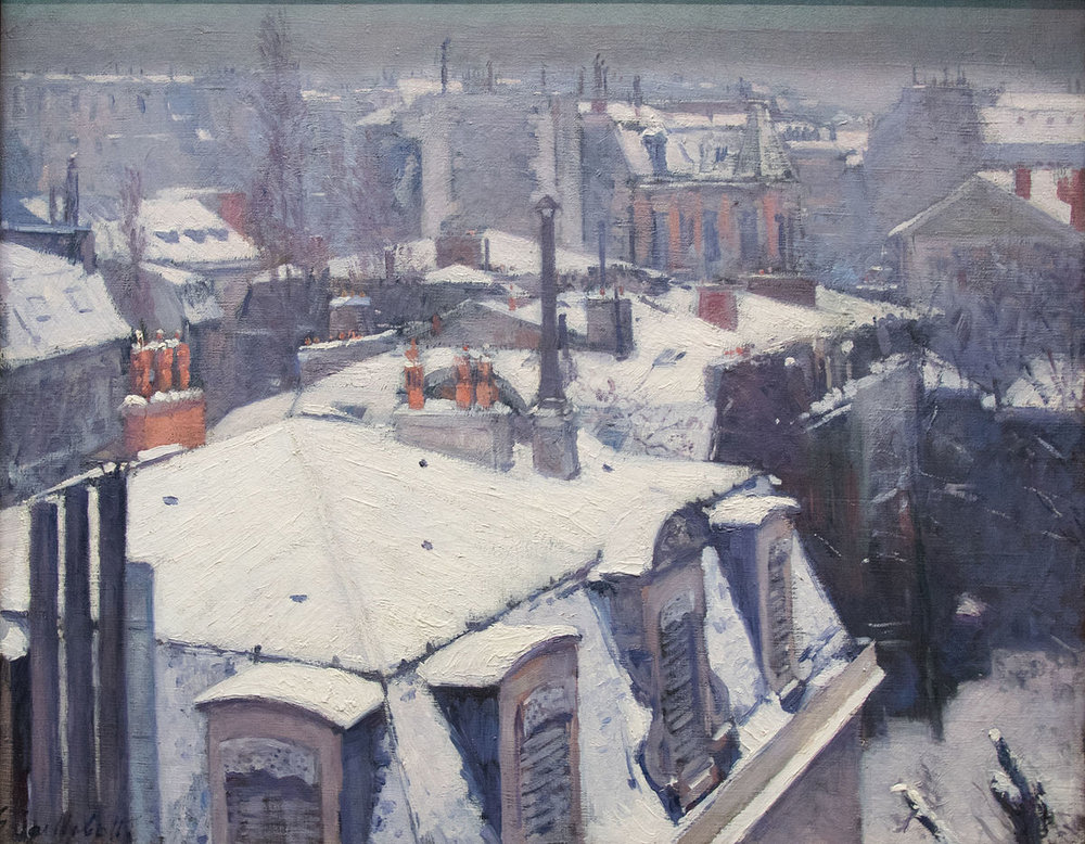 Gustave Caillebotte -  Rooftops in the Snow - Oil on canvas, 1879, Musée d'Orsay, Paris.