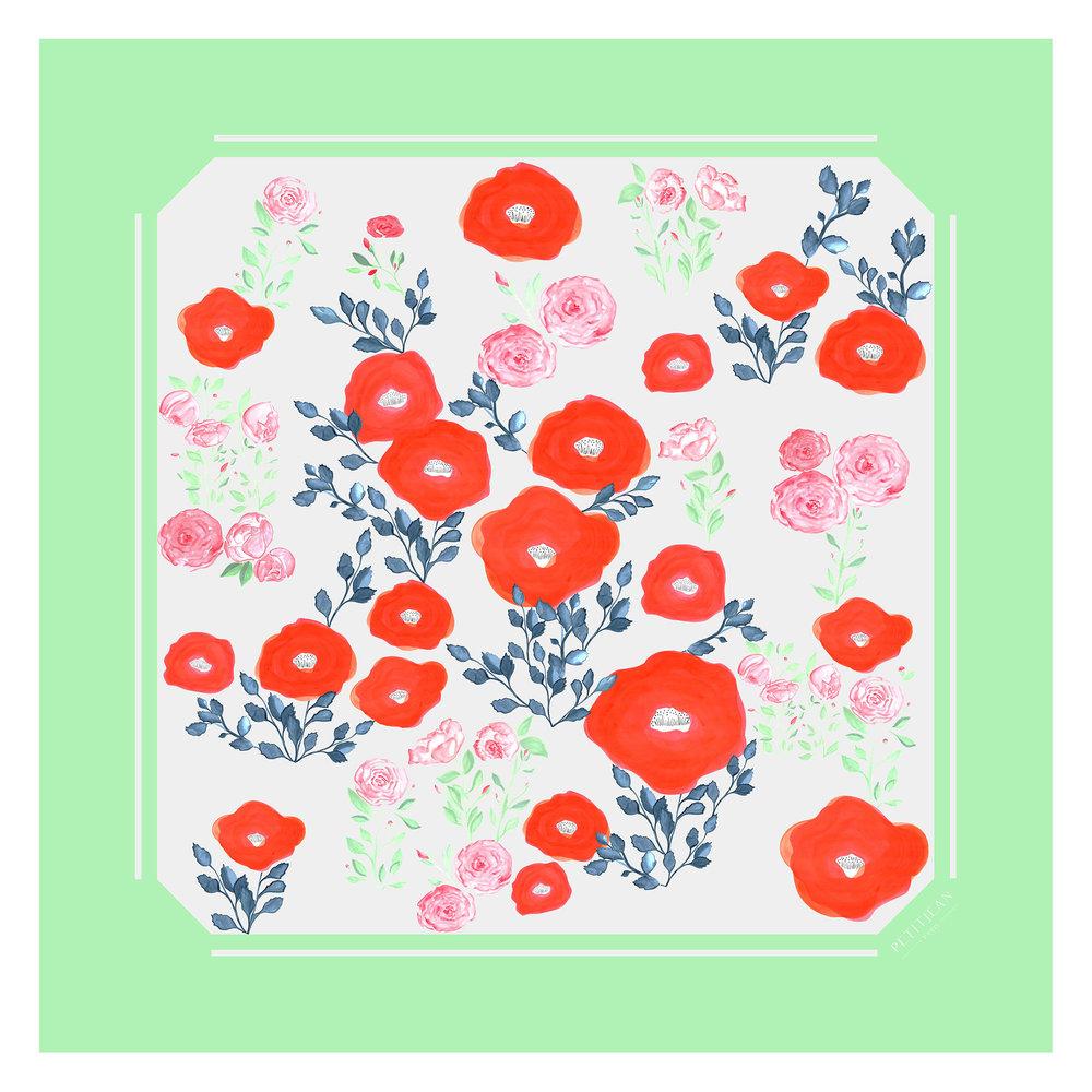 Silk carré scarf Morphée Greenery - 100% silk - 175€