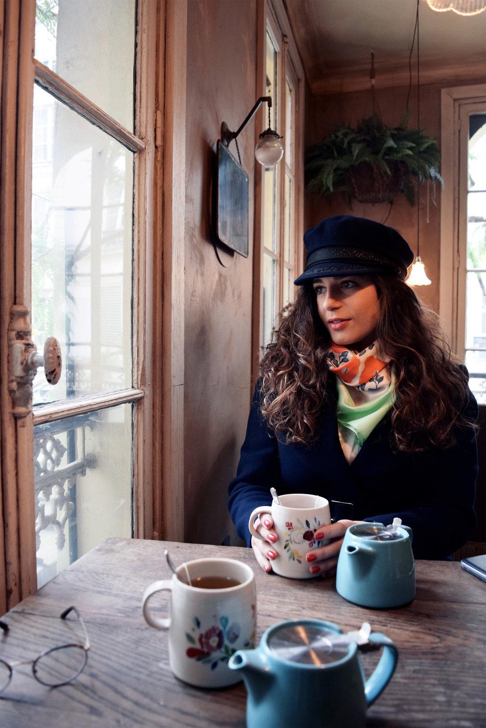 petitjean paris. parisian brand. portrait of parisian girls. saint germain des près vintage café