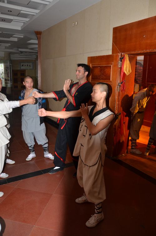 Si-Fu Julian Hitch teaching young monks in the Shaolin Temple, China.