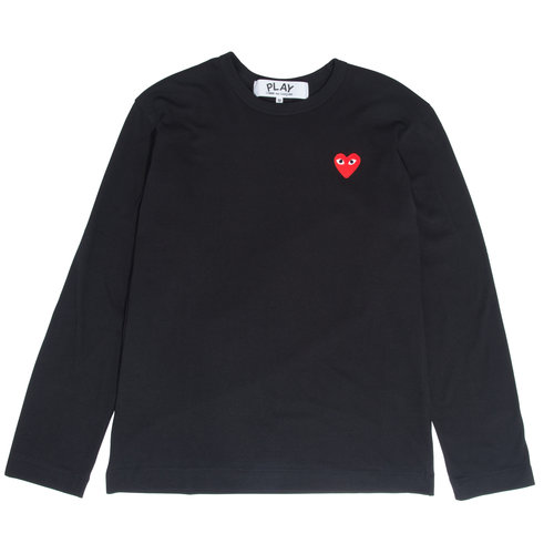 d237b1b4e0eb PLAY Black Long Sleeve Red Heart Tee — W2 Store