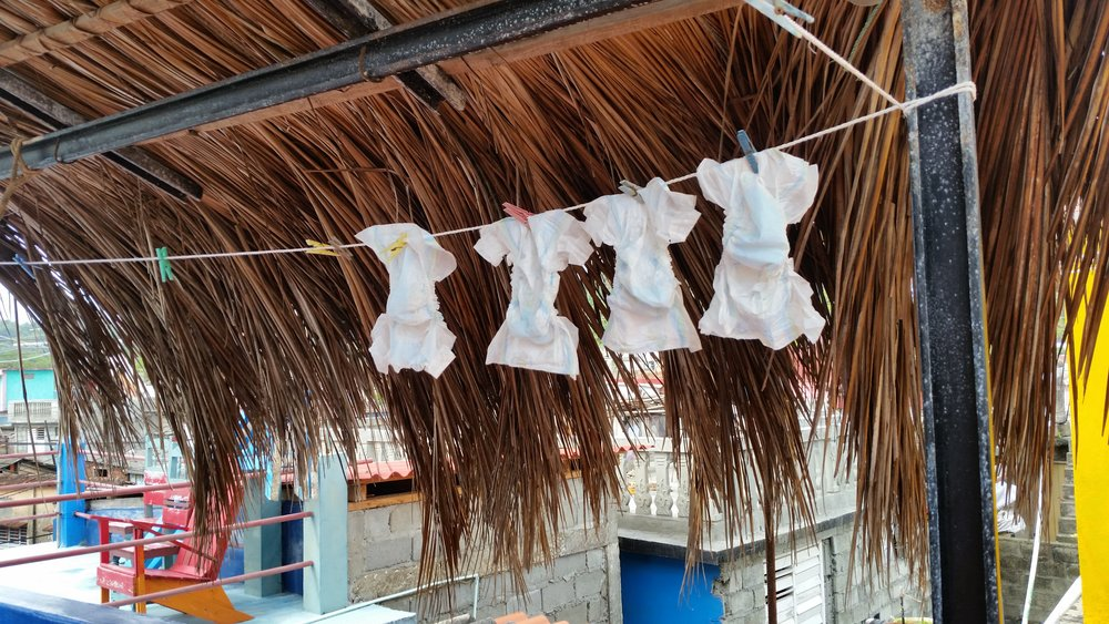 Used & washed disposable diapers drying before their next use in Baracoa, Guantanamo