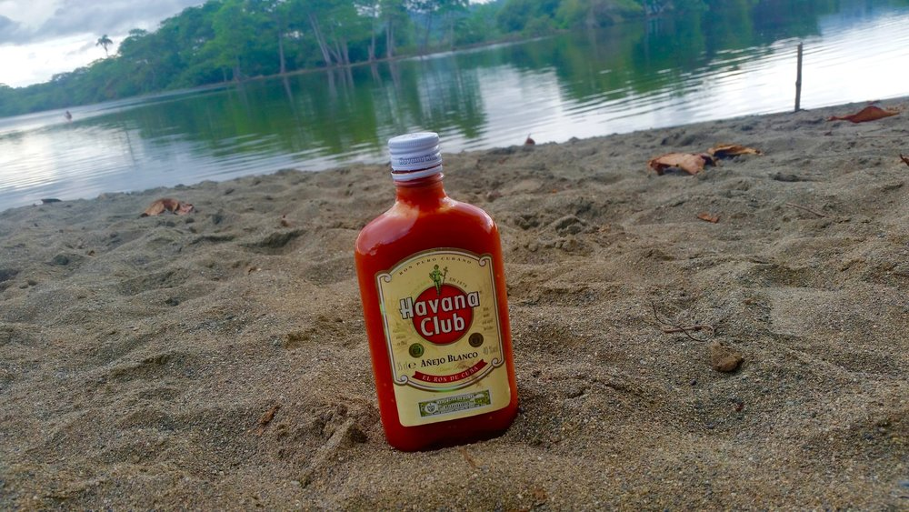 Tomato sauce served up in an old rum bottle in Baracoa, Guantanamo