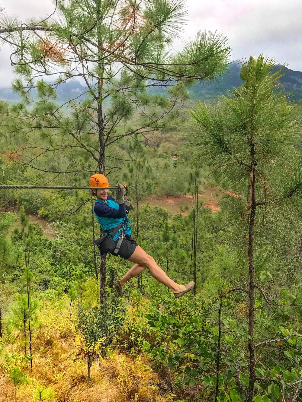 "Zip lining over the ""canopy"" in Vinales"