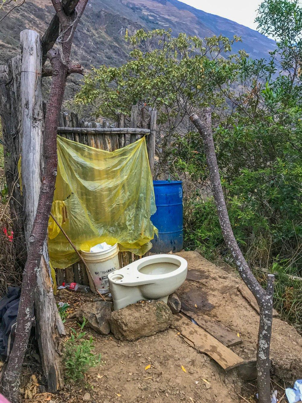 """Of course this campsite has a bathroom"""