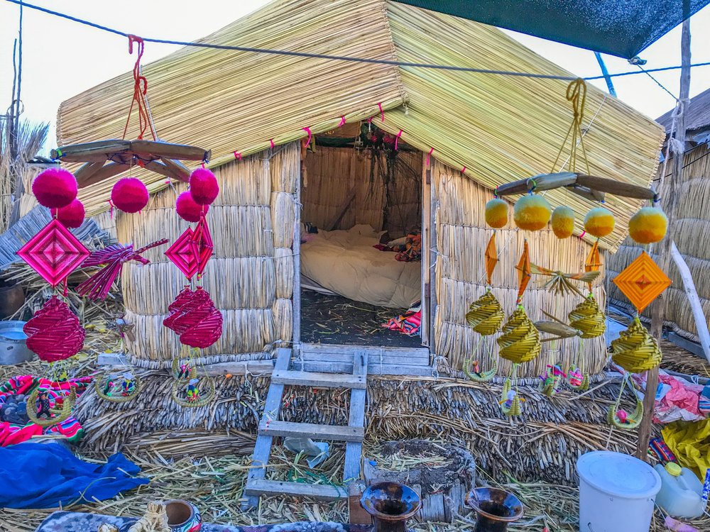 Souvenirs sold in front of an Uros home. Some are unique but most are sold all over the place