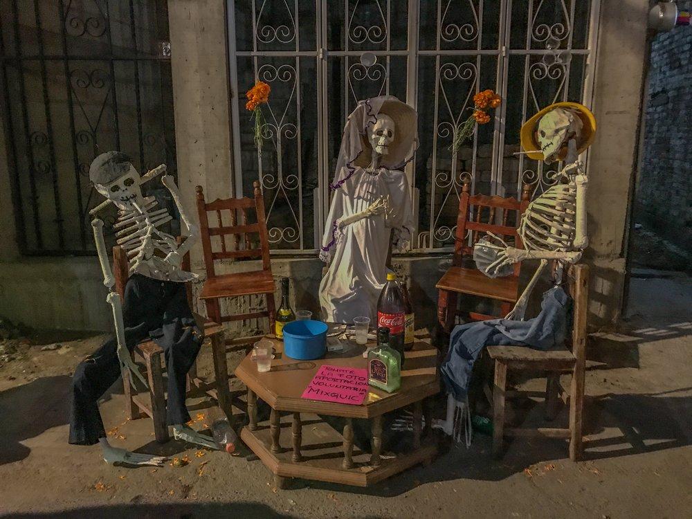 One of many skeleton displays in Mixquic