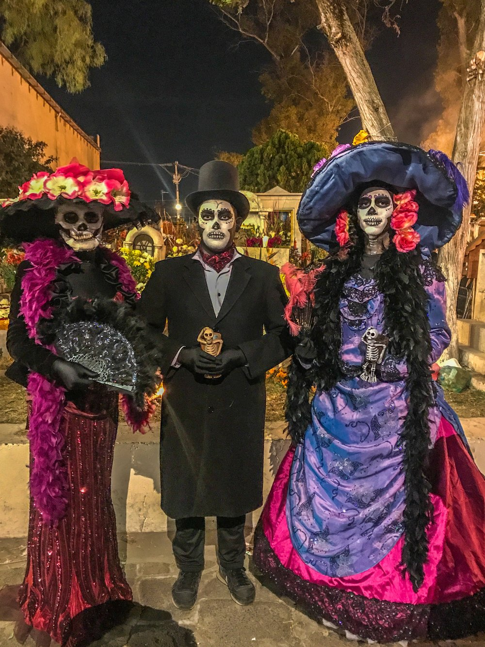 Traditional Day of the Dead costumes in Mixquic