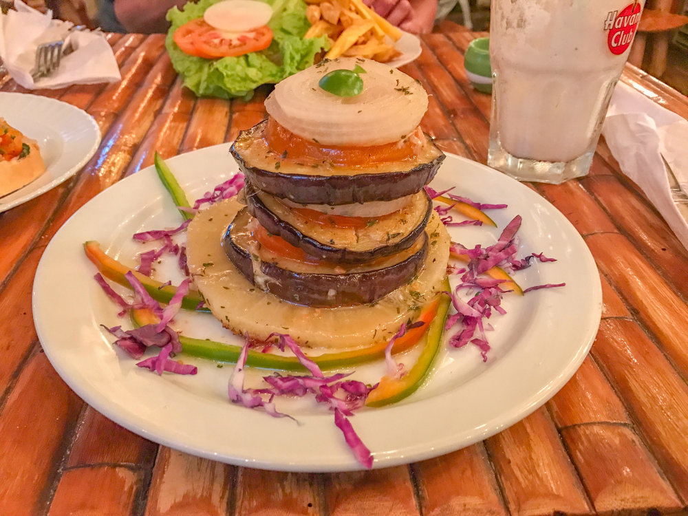 The eggplant and pineapple stack in Havana