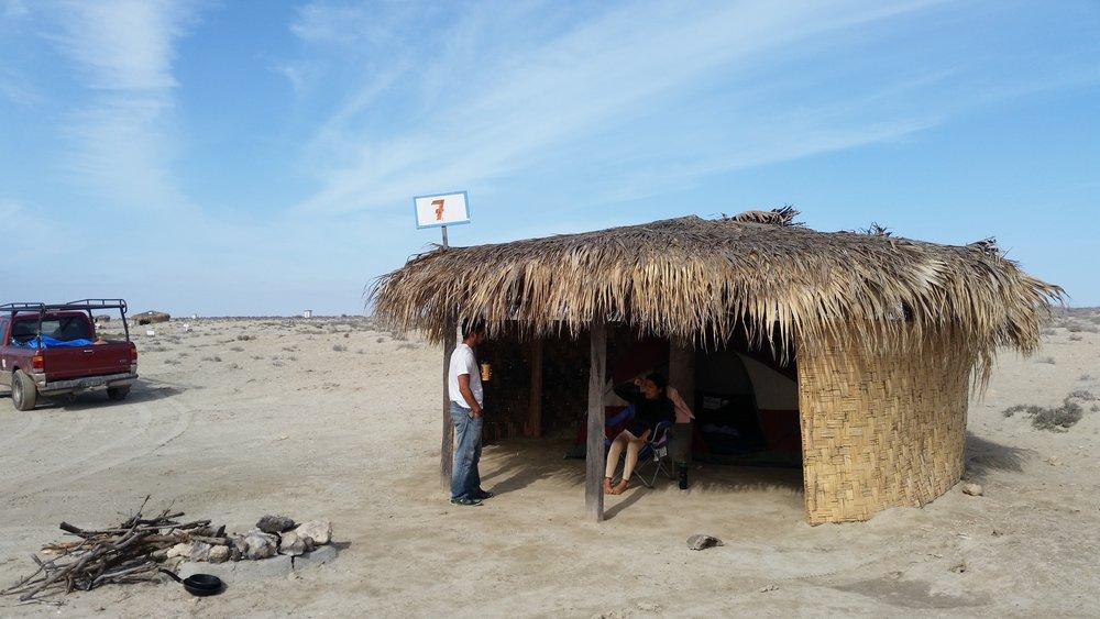Camping in the salt flats of Baja California