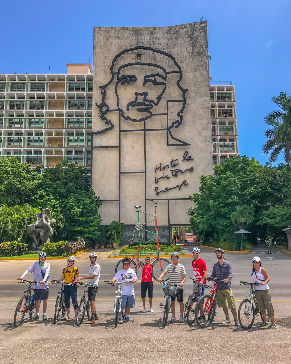 Bike tour stop at Revolution Plaza