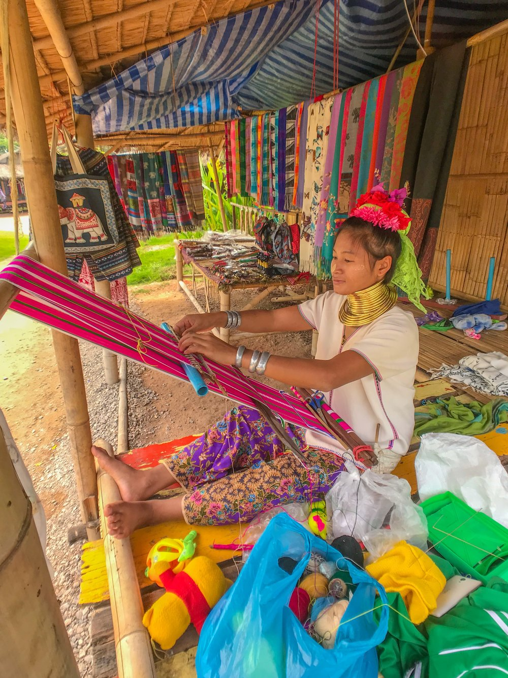 The Karen sell handicrafts and textiles to tourists to support themselves