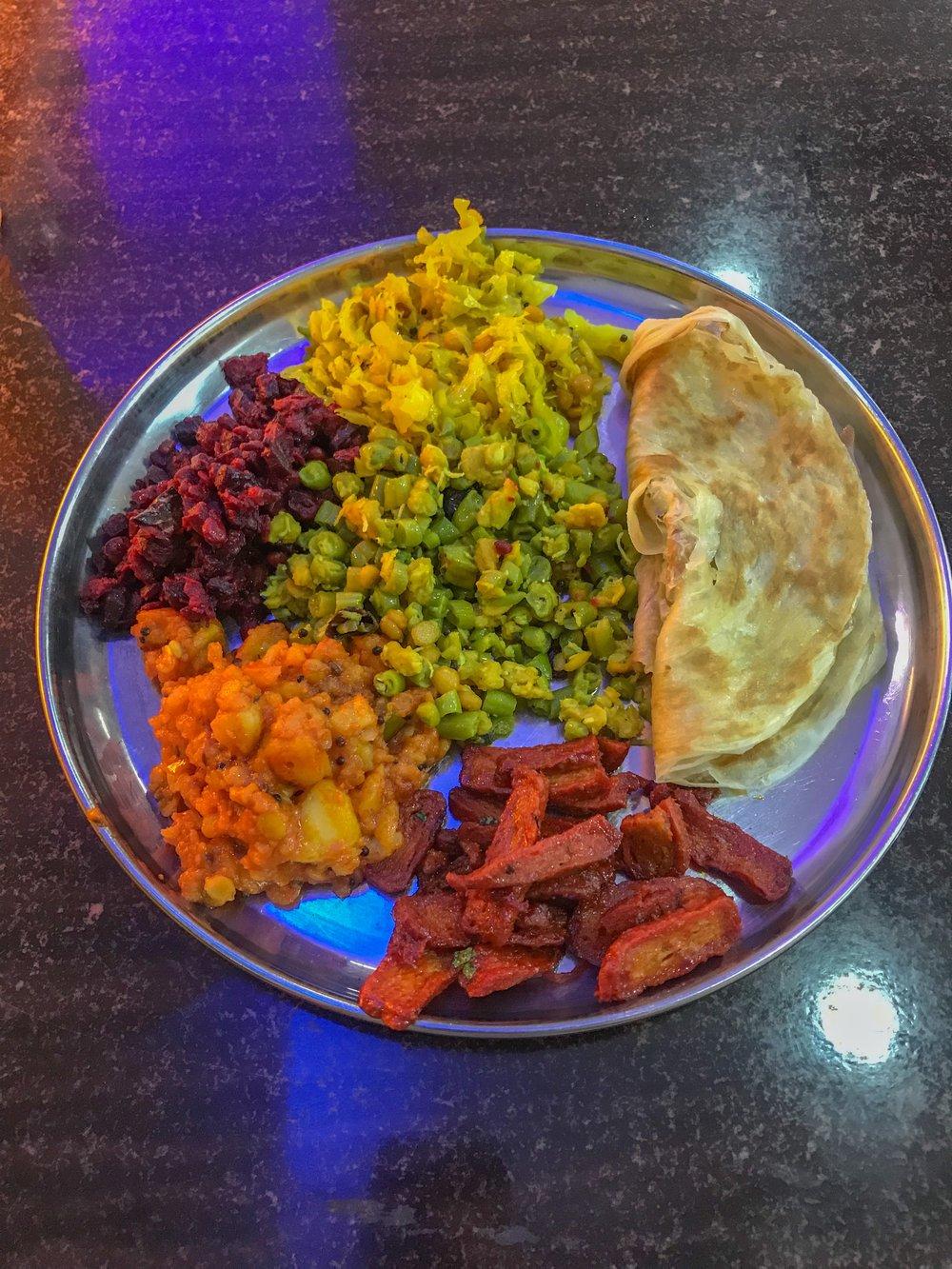 Vegetarian thali platter