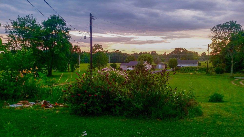 Enjoying dinner on the porch at sunset in Richmond, Kentucky