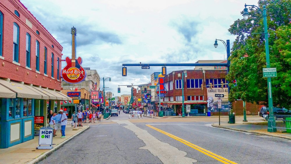 The one and only Beale Street, before the evening tourist rush.