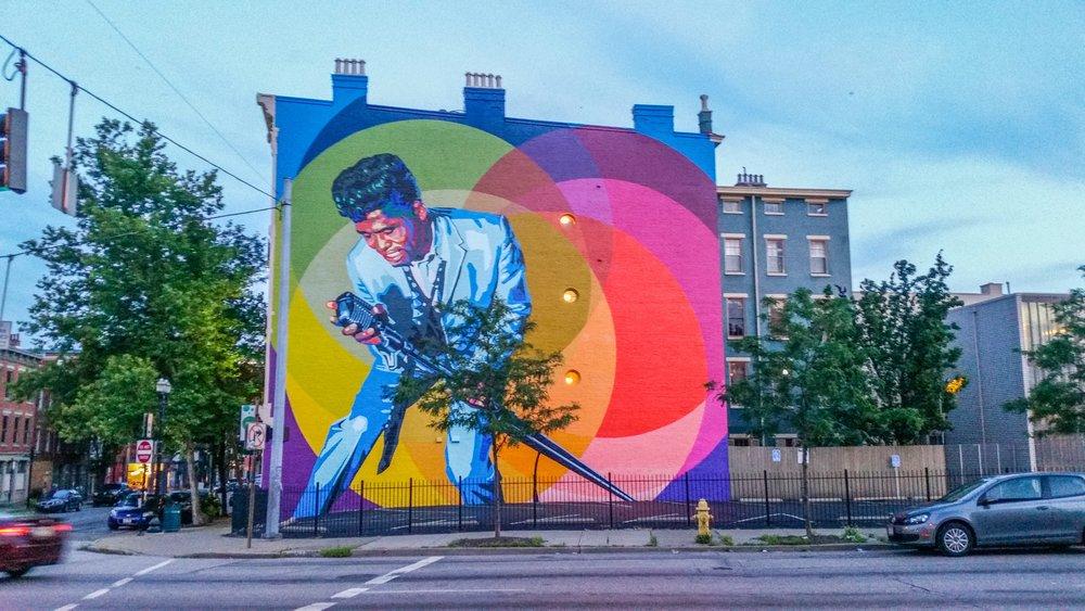 James Brown blesses onee of Cincinnati's many impressive murals.