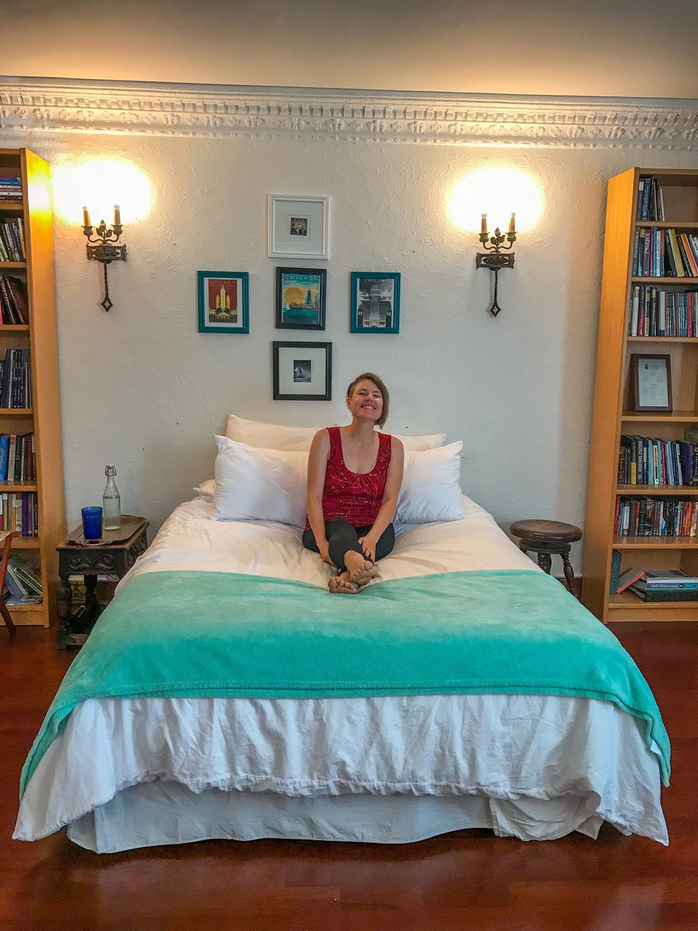 Me at my AirBnB in Chicago - use my discount code to save $40!