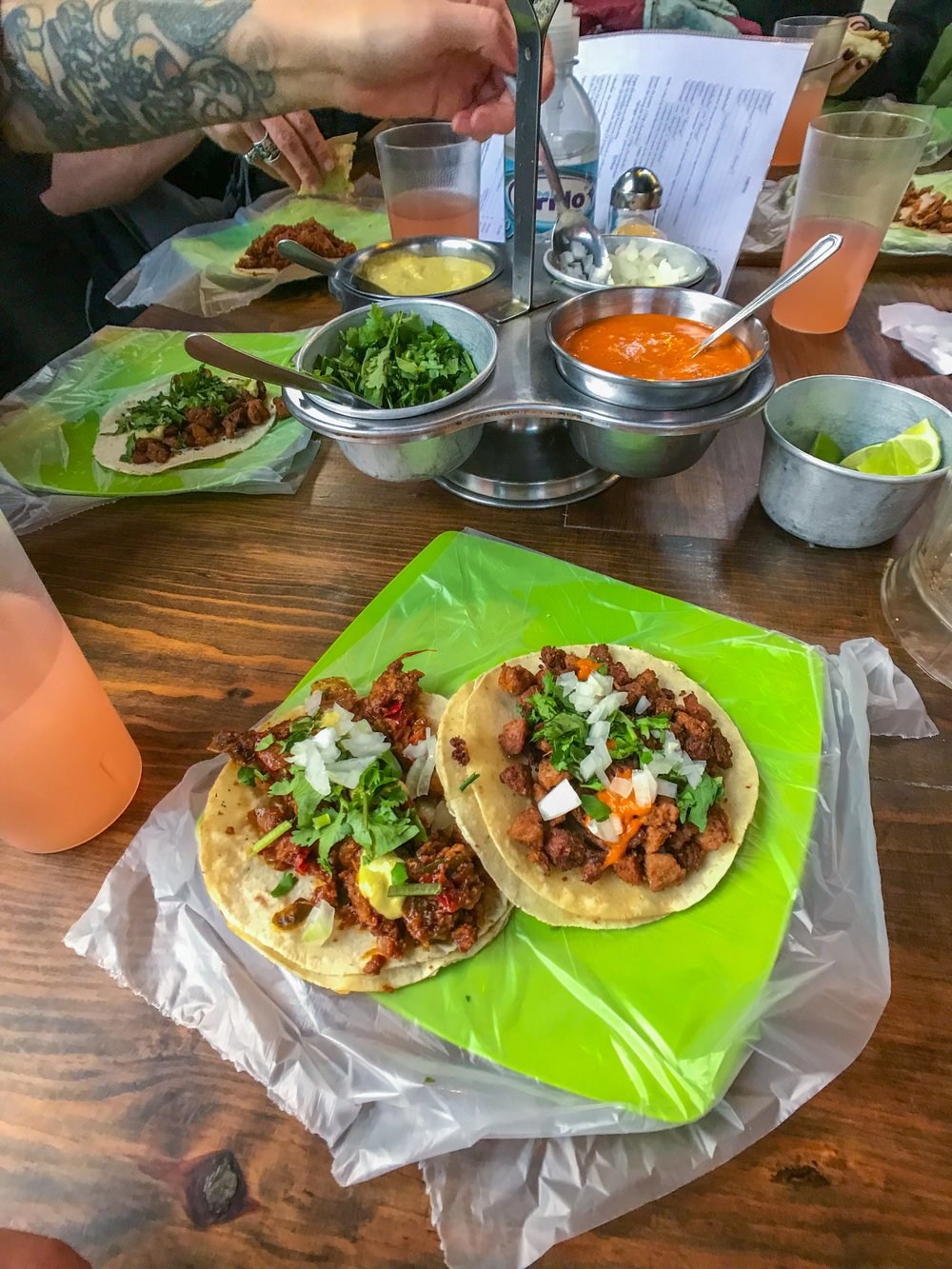 Tacos during the vegan food walking tour