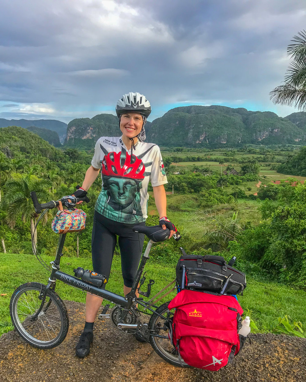 Me bike touring through Cuba on my Bike Friday