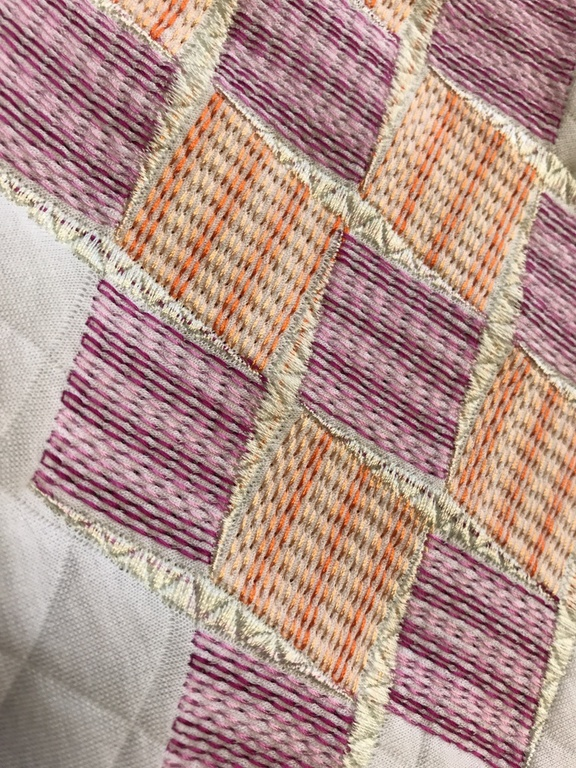 Geometric Shapes using Gunold's SULKY variegated viscose thread - Design by GS UK