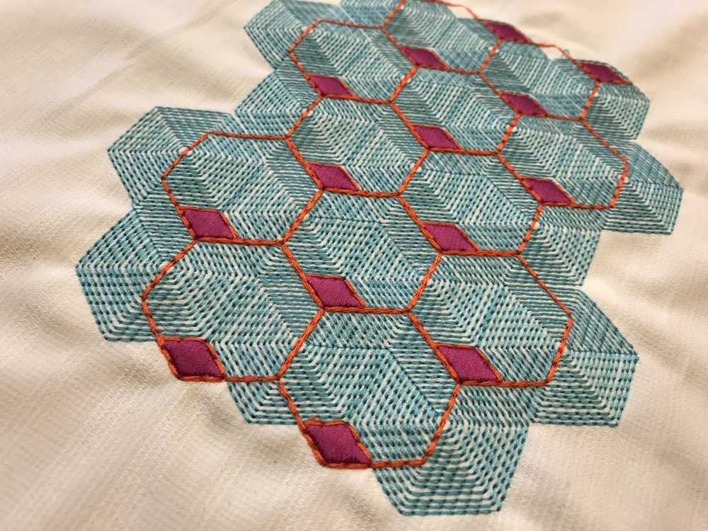 Geometric Shapes using Gunold's POLY polyester thread - Design by GS UK