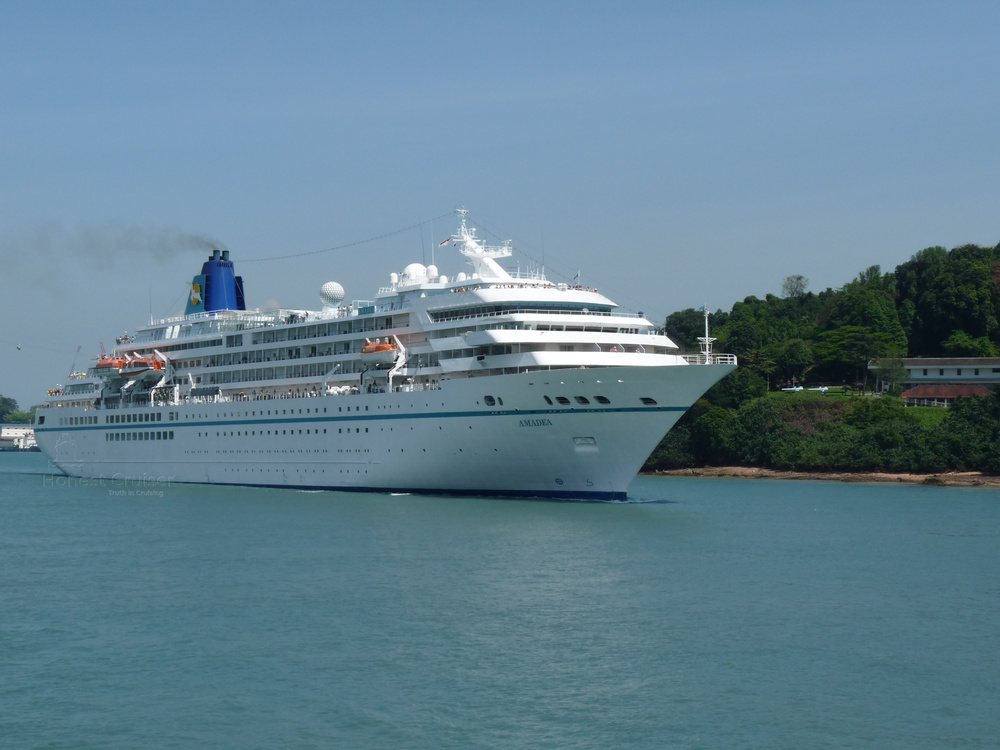 German cruise operator Phoenix Reisen's ship the Amadea, is seen below departing Singapore Cruise Centre.
