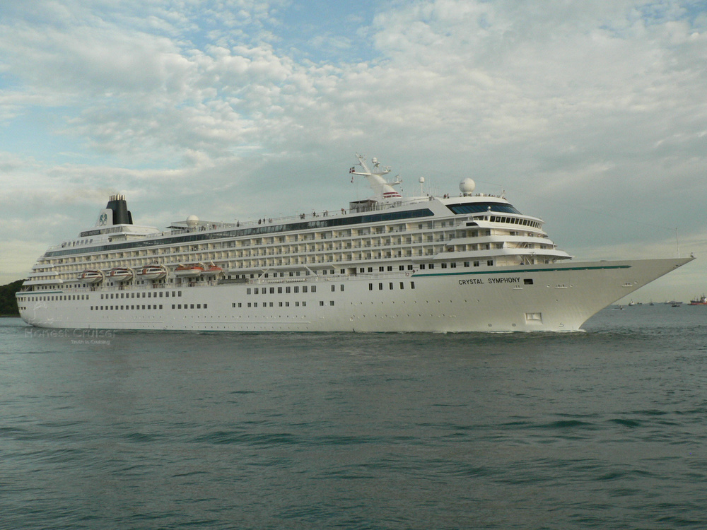 Crystal Symphony, design influenced by Amadea, leaving Singapore.