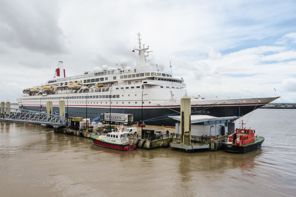 Boudicca berthed in Liverpool.
