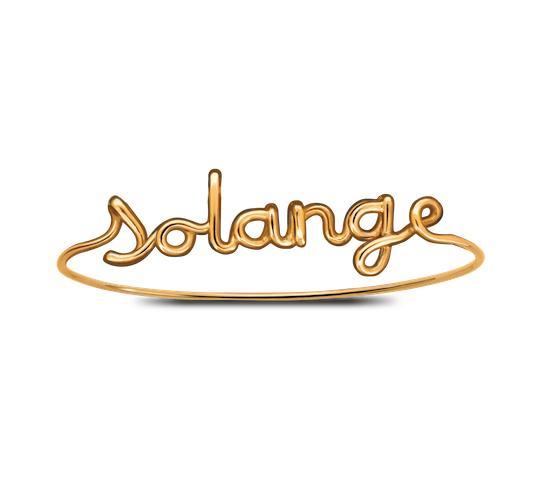 Custom gold Solange bracelet with child's name