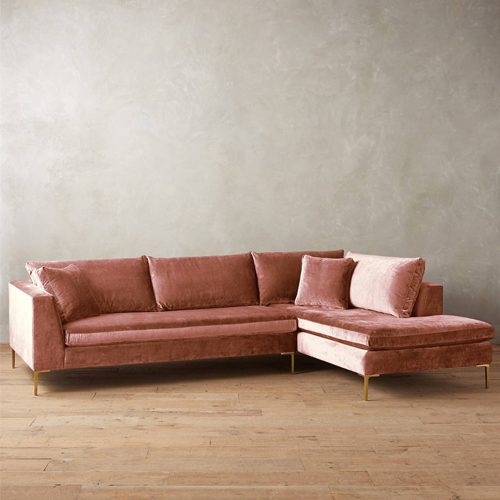Slub Velvet Edlyn Right Sectional