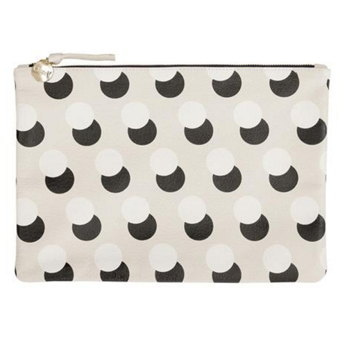 Flat Clutch CREAM GOAT W/ BLACK & CREAM POP DOTS