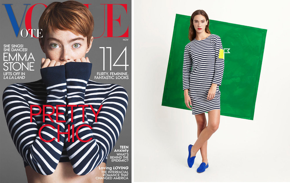 Classic stripes on the November 2016 cover of  Vogue , and Charlotte Patch Pocket Bateau Dress by  Sleepy Jones