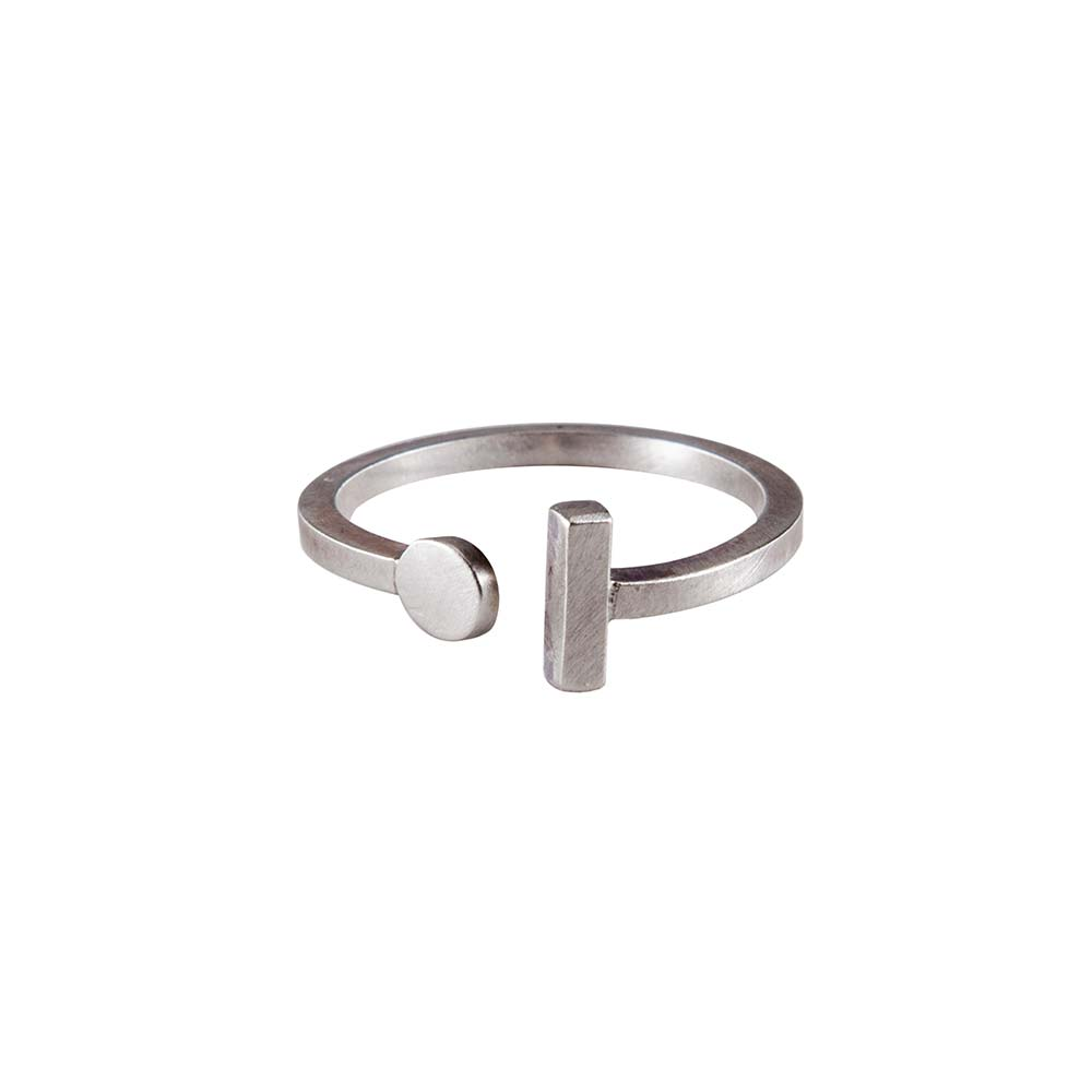 Silver Circle Bar Ring