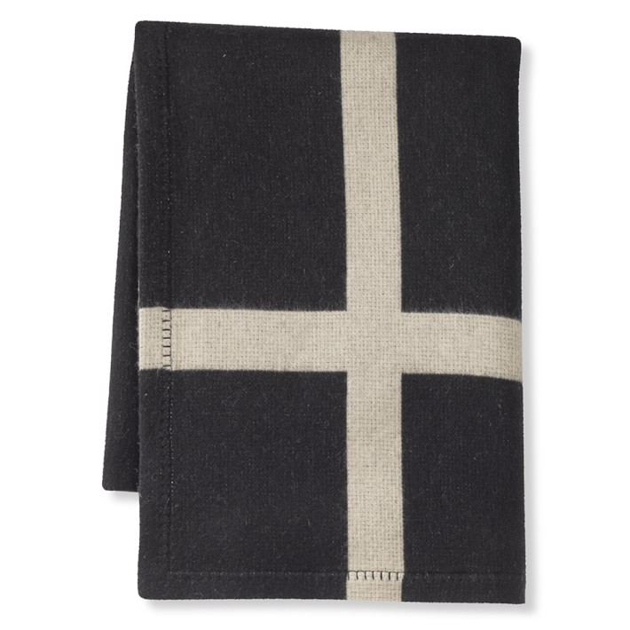 Cashmere and Wool Equestrian Throw, Black