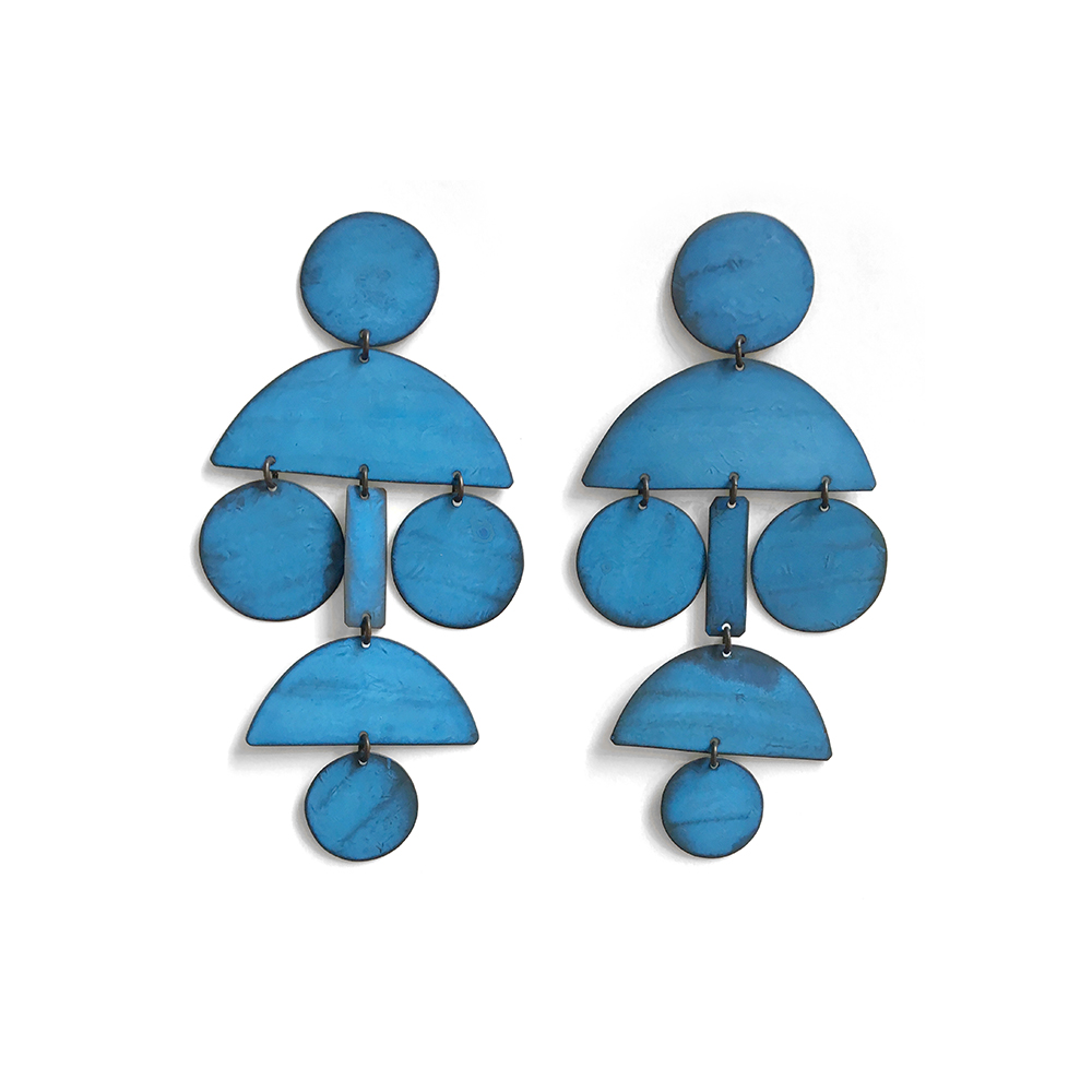 Pom Pom Earrings in Blue Oxide Finish