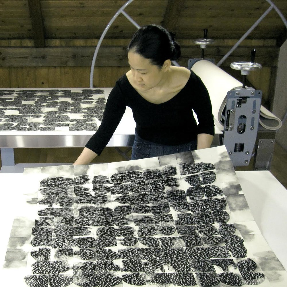 Eunice at work in her Seattle studio.